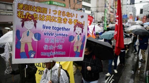 Lao động nhập cư ở Nhật tham gia tuần hành hàng năm vào tháng Ba để kêu gọi xóa tình trạng đối xử bất công với người lao động nước ngoài
