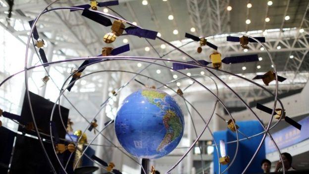 Modelo a escala de satélites ao redor da Terra