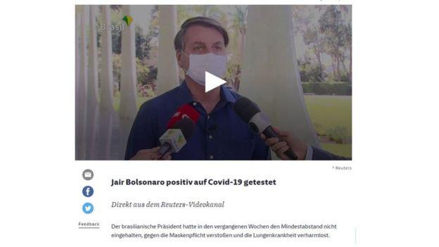 Reportagem do jornal Süddeutsche Zeitung sobre diagnóstico positivo de Jair Bolsonaro