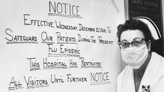 Cartel anunciando restricciones durante el brote de la gripe de 1968.
