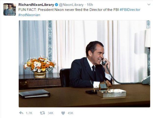 Tweet de la Bibliotecha Nixon