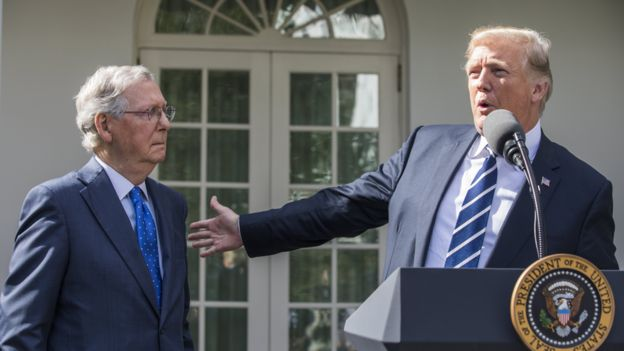 US President Donald J. Trump (R) and Senate Majority Leader Mitch McConnell (L) speak to the media after meeting for lunch at the White House in Washington, DC, USA, 16 October 2017