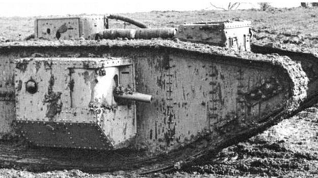 A six-pounder cannon mounted on one side of a Mark V tank.
