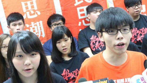Scholarism spokeswoman Agnes Chow Ting (Left) and Scholarism Convenor Joshua Wong Chi-fung , 2016
