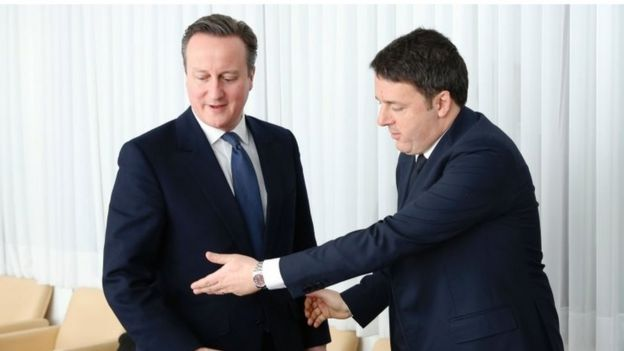David Cameron and Italian PM Matteo Renz