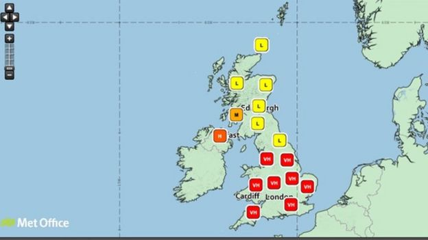 The pollen forecast from the Met Office