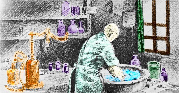 Ilustração mostra o médico Ignaz Semmelweis lavando as mãos com água com cloro antes de uma operação