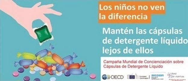 Campaña global para alertar sobre los riesgos de las cápsulas de detergente líquido.