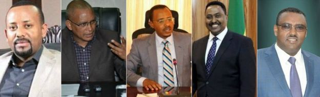 From left to right: Abiy Ahmed, Debretsion Gebremichael, Lema Mergessa, Workneh Gebeyehu, Demeke Mekonnen