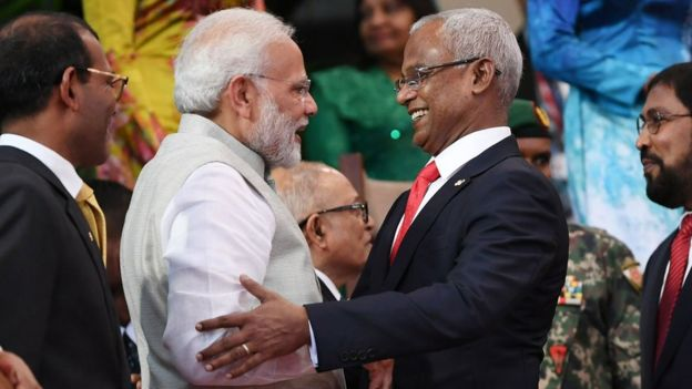 Indian Prime Minister Narendra Modi, left, at the inauguration of Maldives President Mohamed Solih, right