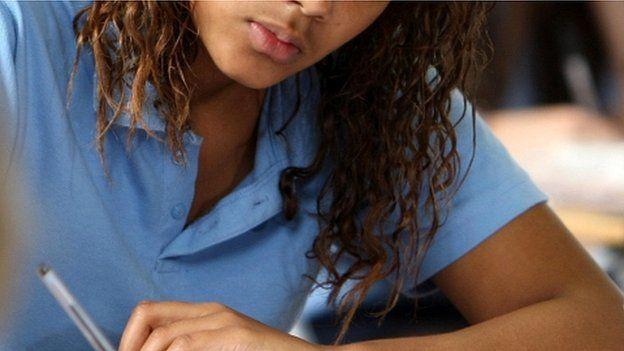 Girl taking exam