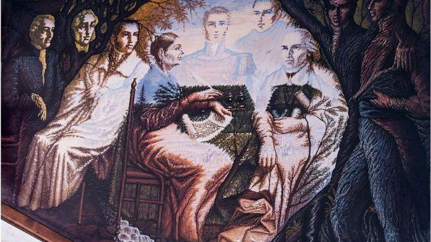 Mural de Miguel Hidalgo pintado por Octavio Ocampo