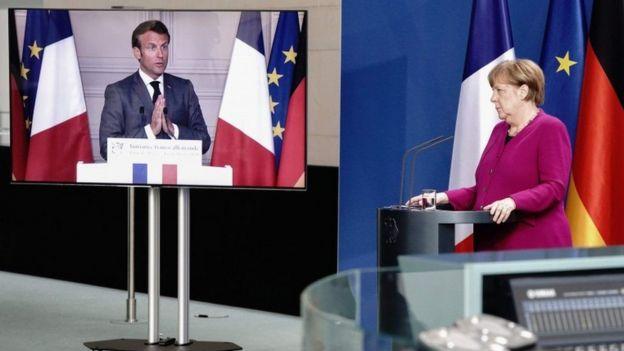 Angela Merkel y Emmanuel Macron en conferencia.