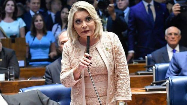 A senadora durante o pronunciamento no dia da posse no Senado Federal, em 1º de fevereiro