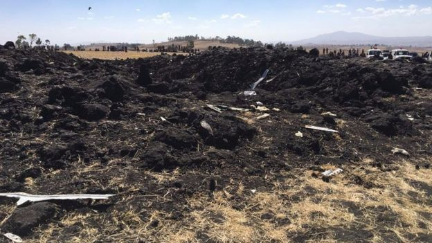 Image from BBC shoot-edit of the crash scene of the Ethiopian Airlines flight