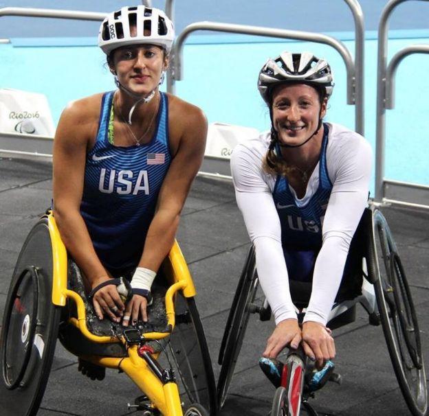 Hannah and Tatyana McFadden competing together at London 2012