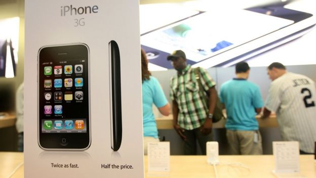 The IPhone 3G is pictured boxed at a launch in New York City, 2008