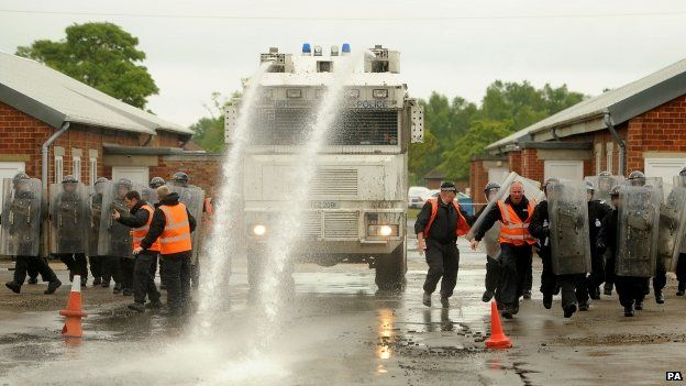 Police training with water cannon in 2013