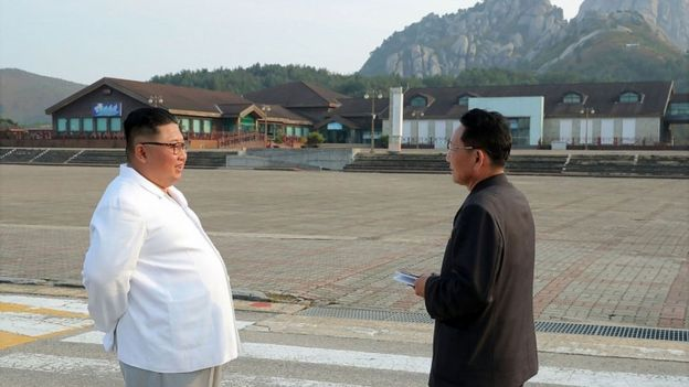 Undated picture from North Korea's official Korean Central News Agency on 23 Oct 2019 shows leader Kim Jong-un inspecting the Mount Kumgang tourist area