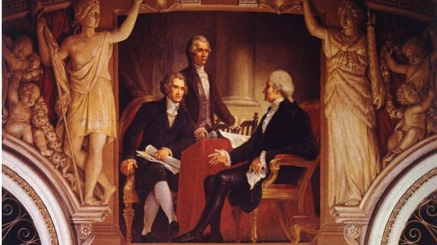 George Washington, Thomas Jefferson y Alexander Hamilton.