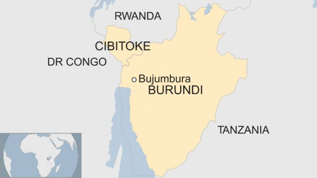 Map showing the location of Cibitoke province in Burundi