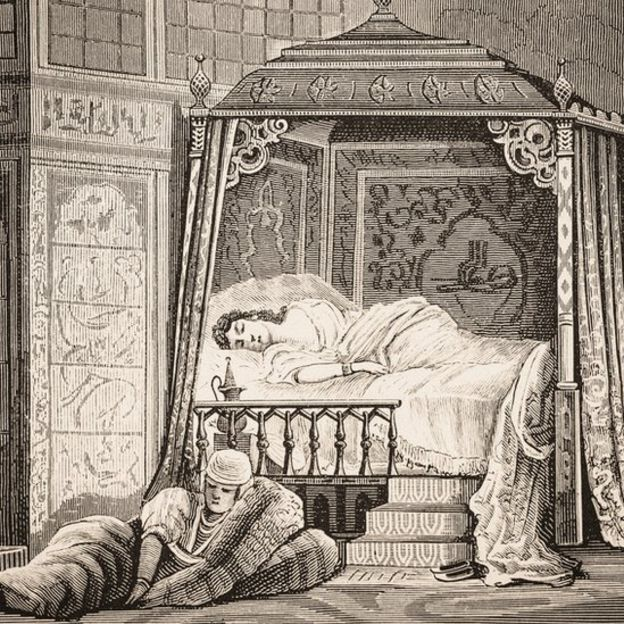 Illustration of the bedroom of the wife of a sultan.
