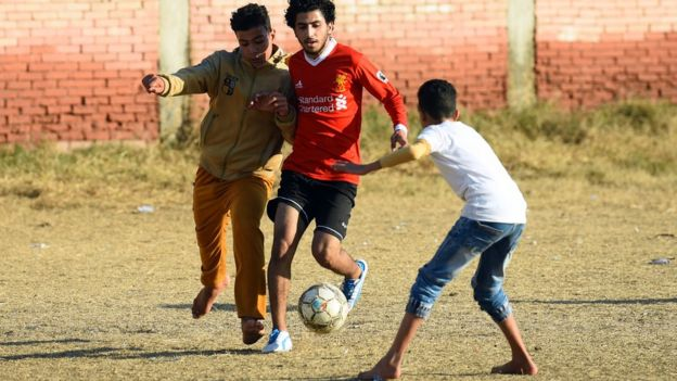 Mo Salah at the Mohamed Salah Youth Center in Nagrig