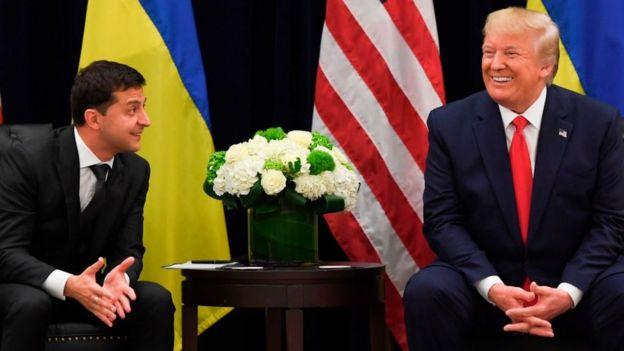 El presidente de Ucrania, Volodimir Zelensky, y Donald Trump en Nueva York