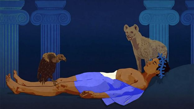 Cadáver de Polinices con hiena y ave