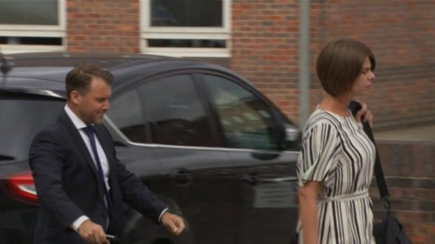 Scott Wolfe and Katie Hope arriving at court