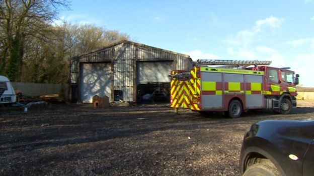 The barn with a fire engine