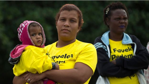Favela residents protest on Sunday July 2 to end stray bullet deaths