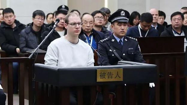 谢伦伯格在被告人席上(中国辽宁大连中院供图14/1/2019)