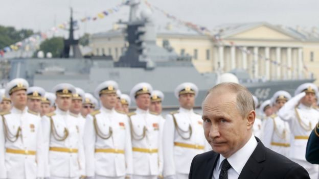 Vladimir Putin was in St Petersburg for a Navy Day show of force