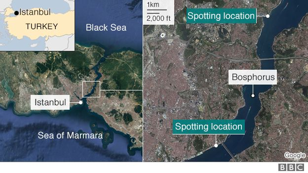 Maps showing the Bosphorus