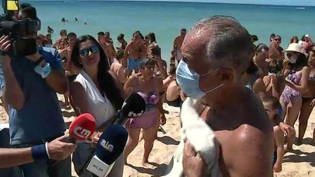 President Marcelo Rebelo de Sousa after the rescue took place