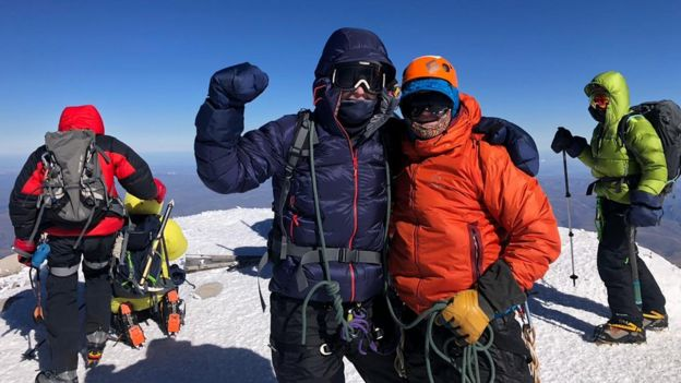 Jack and Paul reach the summit of Europe's highest mountain