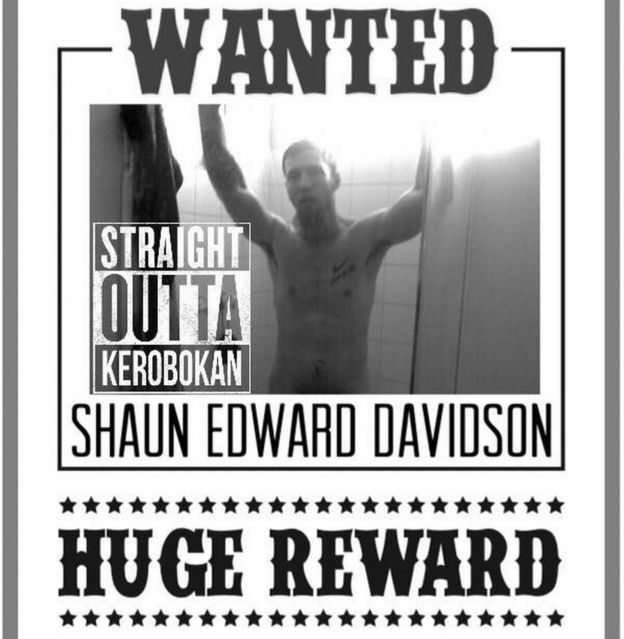 A mocked-up 'Wanted' poster on Shaun Davidson's Facebook account