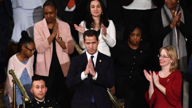 Juan Guaidó ovacionado durante el discurso del Estado de la Unión