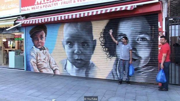 Hình ảnh trẻ con được vẽ lên các cửa hàng ở tây nam London để giảm tội phạm