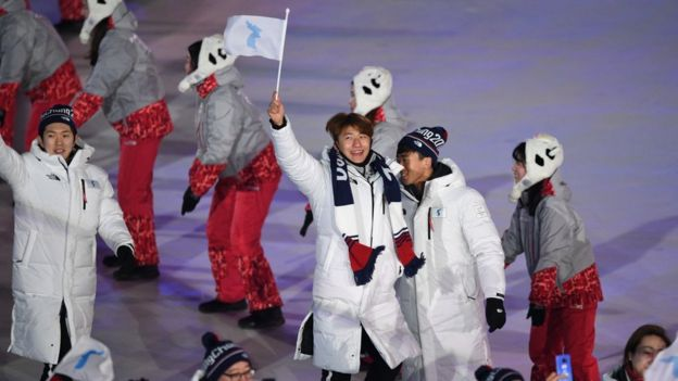 North and South Korean athletes marched under one flag at the opening ceremony