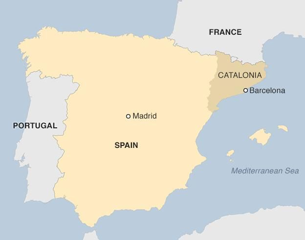 Spanish pm rajoy challenges catalan secession bid bbc news map gumiabroncs Image collections