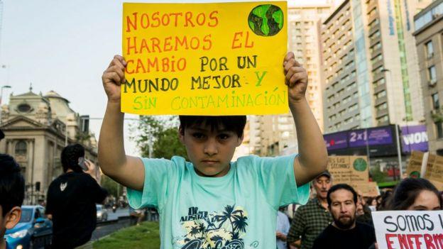 Manifestación a favor del medioambiente en Chile en 2019.