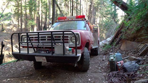 The 1973 Dodge Power Wagon fire truck, nicknamed Scarlett.
