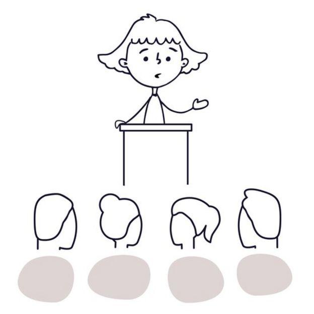Ilustração mostra criança falando de um palanque, observada por outras pessoas