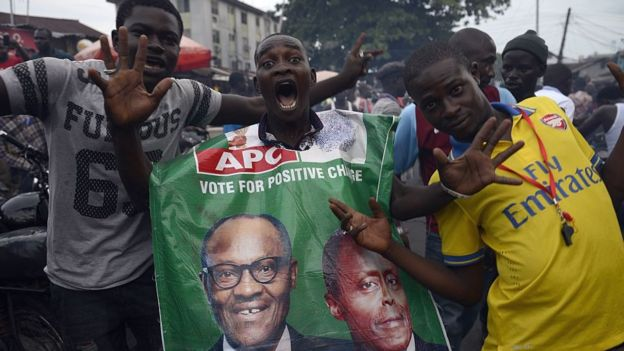 Supporters of Nigeria's Muhammadu Buhari celebrate his election in March 2015