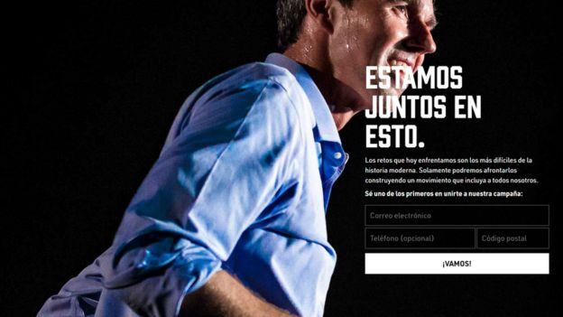 Imagen de la página oficial de Beto O'Rourke