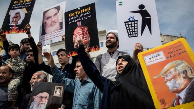 Protestas en Teherán contra la ruptura del acuerdo nuclear