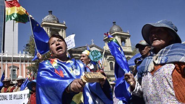 Manifestación boliviana en La Paz.