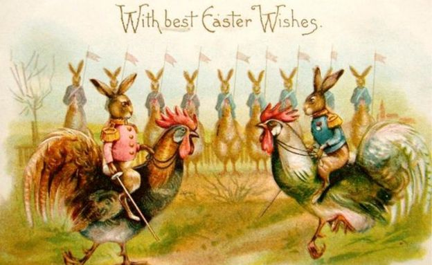 The odd world of victorian easter cards bbc news image caption nothing says happy easter quite like hares riding on to a battlefield m4hsunfo